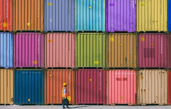 A large group of colored Shipping Containers for Sale