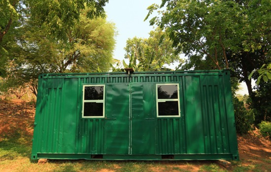 An Example of Custom Containers Iowa, Green Custom Container Sitting in the Woods