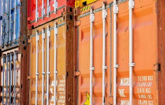 Close Up of Colorful Iowa Shipping Containers