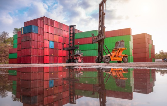 Yard of Shipping Containers near Missouri