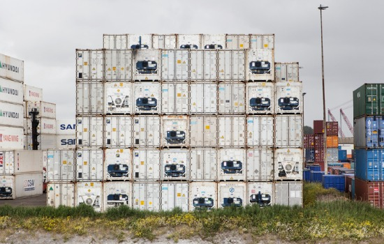 Refrigerated Containers for St. Louis MO Stacked on Top of Each Other in a Shipping Yard