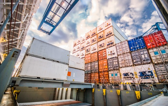 Reefer Containers for Indiana Stacked on Top of Each Other in a Storage Yard